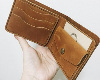 Handmade Tan oil leather wallet, Coin pocket wallet, Leather billfold, Men wallet **This price just for 1 wallet**