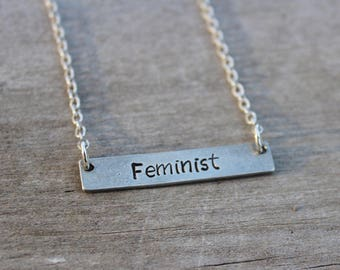 Feminist Bar Necklace - Hand Stamped Feminist Pewter Bar  Necklace - Feminist Necklace