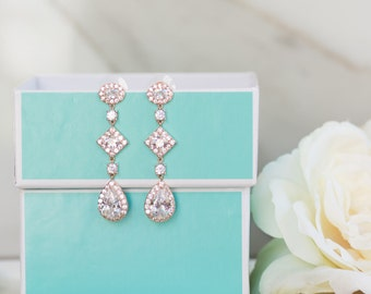 Rose Gold Earrings | Bridal Earrings | Long Earrings | Bridesmaid Earrings | Wedding Jewelry | Yellow Gold Earrings | Dangle Earrings