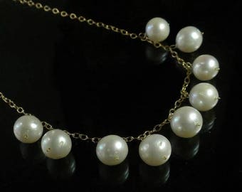 Large Pearl Necklace Genuine White Pearl Necklace White Pearl Bib Necklace Gold Filled