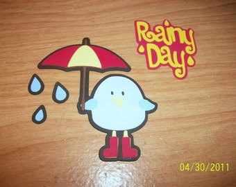 Birdie with umbrella die cut and Rainy Day title