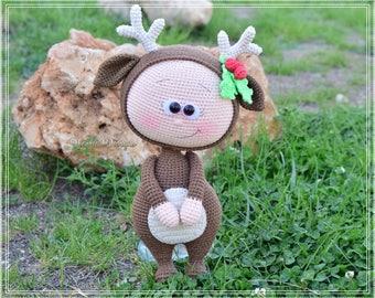 Crochet Pattern - Bonnie With Reindeer Costume (Amigurumi Doll Pattern)