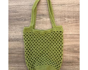 Cotton Crochet Market Bag, Crochet Beach Bag, Accessory, Tote Bag, Crochet Tote Bag, Mesh Market Bag, Green, Summer Beach Bag, Fall Market