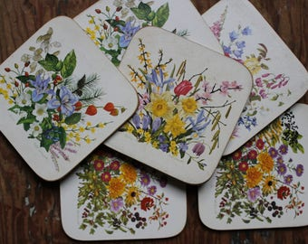 6 vintage Great Britain English Bohemian CLOVER LEAF Leslie Greenwood bouquet decoration protection table glass drinks coasters