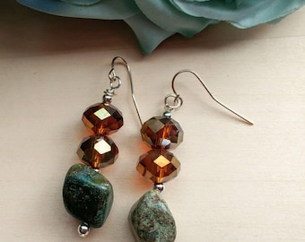 Stablized Turquoise and Faceted Glass Earrings