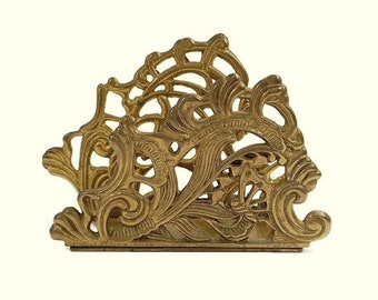 1980 Vintage Brass Napkin Holder Art Nouveau Style Letter Holder Butterfly Lily-Of-The-Valley Office Home Decor