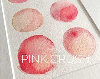 Pink Crush. Original watercolour painting by Irish Artist McCabe Creative (10x8 mounted, circles, pink hues, pink tones, feminine, pretty)