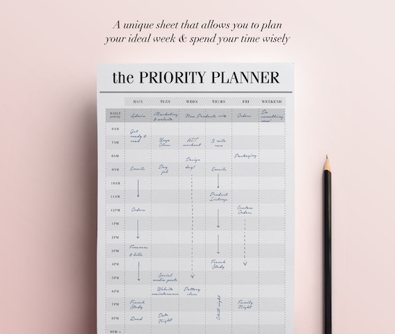 Priority Planner Printable Productivity Planner Weekly - Productivity planner review