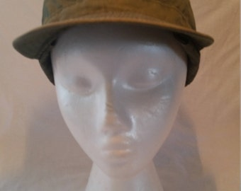 Military olive green field cap/olive green cap/military field cap/green winter cap/vintage military hat