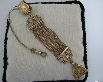 c064 Seven Chain Vintage Fob with Pocket Watch Chain on Waist clip