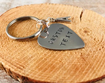 Customized text stamped guitar pick keychain, hand stamped, Gifts for him, Gifts under 15, custom guitar pick, stamped stainless steel