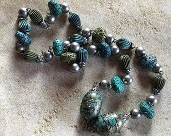 Blue Beaded Necklace, Glass Beaded Necklace, Beadwork Necklace, Statement Necklace, Gift For Her