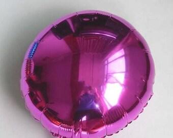 Balloon round Mylar foil pink metal 45cm