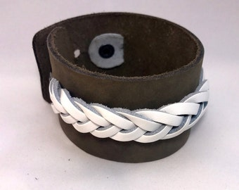 Men's Gift or Women's Gift Leather Bracelet Cuff, Soft Grey Top Grain Leather with White Braid Tucked in and riveted with stud fastener