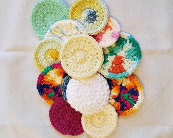 Cotton Face Scrubbie Oopsies! - set of 10 - mismatched washable facial rounds - reusable cotton rounds - crocheted makeup pads