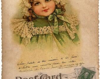 Victorian girl in green bonnet postcard*One- 5x7*Quilt*Art*Altered art*Frame*Pillows*Sachets*Door dazzler*Fabric block