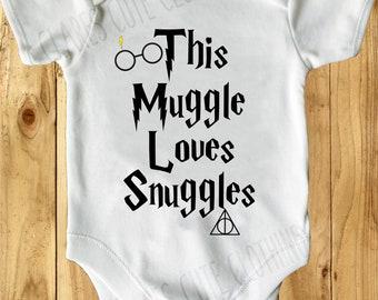 Potter inspired muggle loves snuggles baby vest/grow/romper/bodysuit