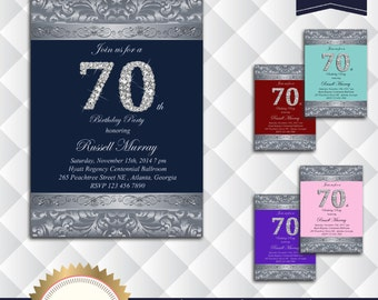 Elegant Navy Blue, Silver and Brilliants Birthday Party Invitation, 30th 40th 50th 60th 70th 80th 90th 100th - Printable, BNS01