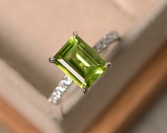 Peridot engagement ring, sterling silver, August birthstone, green gemstone, emerald cut peridot ring, engagement rings, natural peridot