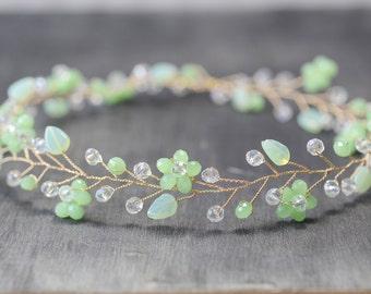 Mint Grün Kristall-Haar wären Blätter Crystal Rebe Braut Krone Haarkranz Stirnband Crystal Halo Braut Haarschmuck