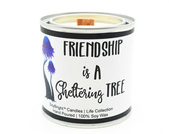 SoyBright™ Soy Wax Half Pint Paint Can Candle Friendship Is A Sheltering Tree Sentiment | Frosted Birch and Juniper Scent | Friendship Gift