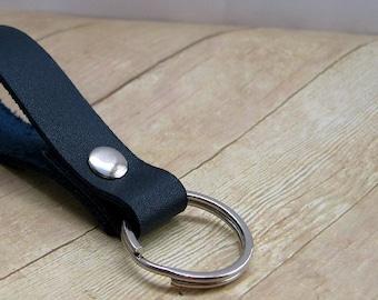 Navy Blue Leather Key Ring, Leather Key Chain, Unisex Key Fob, Handmade Keychain, Purse Accessories, Blue Leather Keyring