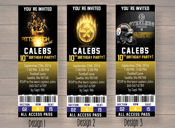 Pittsburgh steelers custom party ticket invitations birthday filmwisefo Gallery