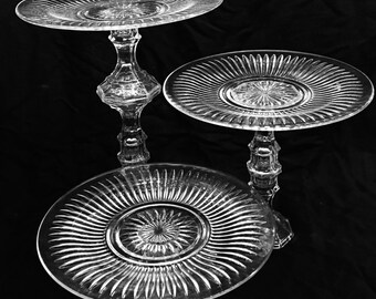 3 Clear Glass Cake Stands/Wedding/Wedding Cupcake Plate/Wedding Cake Pedestal
