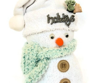 Sock Snowmen; Holiday Decorations; Christmas Snowman; Winter Decor
