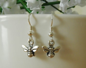Sterling Silver Honey Bee Earrings, Silver Bee Earrings, Honey Bee Drop Earrings, Bee Dangle Earrings, Earrings