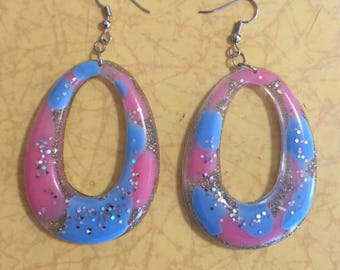 Pink and blue glittery oval hoops