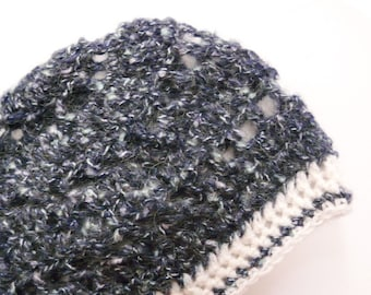 Crochet Hat in a Dark Navy Blue with White Mohair and Cotton Fluffy Yarn combined with a Solid White Edge - OOAK