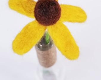 Needle Felted Black Eyed Susan with Vase