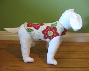 Extra Small Dog Coat, XS Jacket, Red, Green, and Ivory Floral Print Fleece with Green Fleece Lining