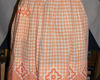 Vintage Excellent Condition Like New Hand Embroidered Orange White Checked Gingham Half Hostess Apron Handmade Cross Stitch Embroidery
