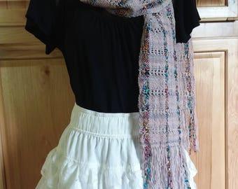 Handwoven pink rainbow merino wool scarf wrap