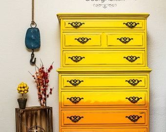 Yellow and Orange Ombre Tallboy Dresser Chest of Drawers