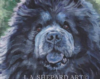 BLACK CHOW Chow dog art PORTRAIT canvas print of LAShepard painting 8x8""