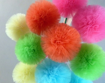 Medium Tulle Pom Pom Balls - Custom Unique handmade decorations -  7 inch diameter - 34 Color Choices