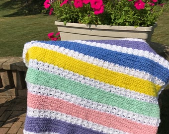 Striped Baby Blanket with Broomstick Lace