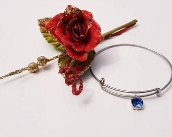 Stainless steel bracelet with blue Swarovski Pendant