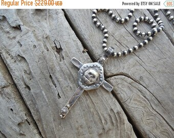 """ON SALE Beautiful cross handmade in sterling silver with a skull in the center and 24"""" 4mm bead chain"""