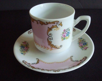 Limoges demitasse cup & saucer, Limoges cup and saucer, Limoges display cup and saucer, Pink cup and saucer, Limoges display cup and saucer