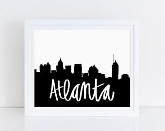 Atlanta Skyline Print Georgia Artwork ATL Poster Black and White Typography Georgia Peach Southern Girls Office Wall Art Hand Lettered Print