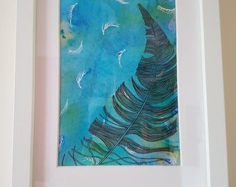 Feather- Ink and Watercolour Original Artwork