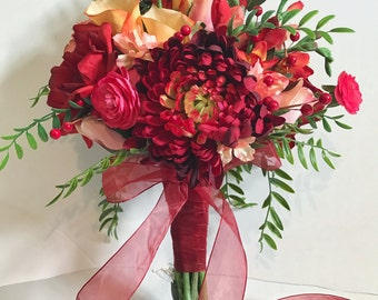 Quick Ship - Organic Shaped Hand Tied Silk Bouquet with Red Roses, Giant Mums, Pink Rosebuds and Ranunculus, and Peach Calla Lilies