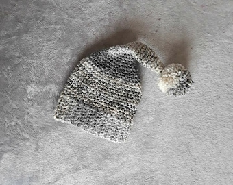 Baby stocking hat, stocking hat, baby hats, elf hat, newborn hat, photo prop, newborn photo shoot, stocking cap, pompom hat, baby sleep cap