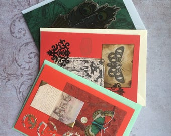 """Vintage style Steampunk cards """"gothic roccoco"""" set"""