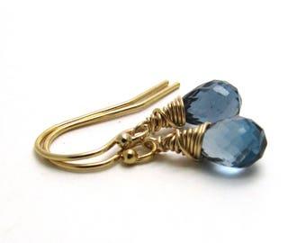 London blue topaz earrings, December birthstone jewelry, Gold filled blue topaz jewelry, Delicate earrings, Dark blue gemstone jewelry