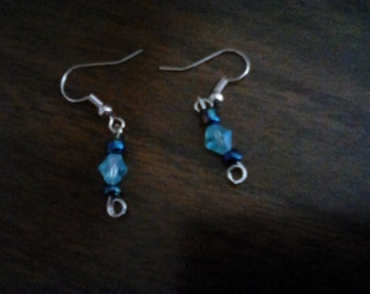Blue glass gems and seed head homemade earrings.